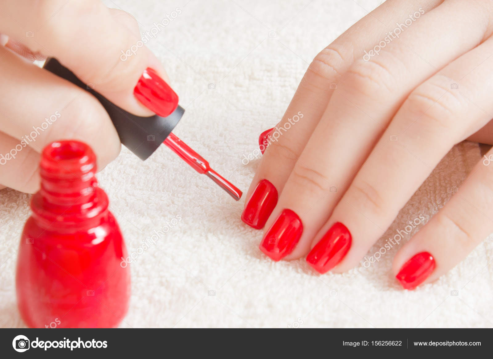 Manicure - Beautiful manicured woman\'s nails with red nail polish on ...