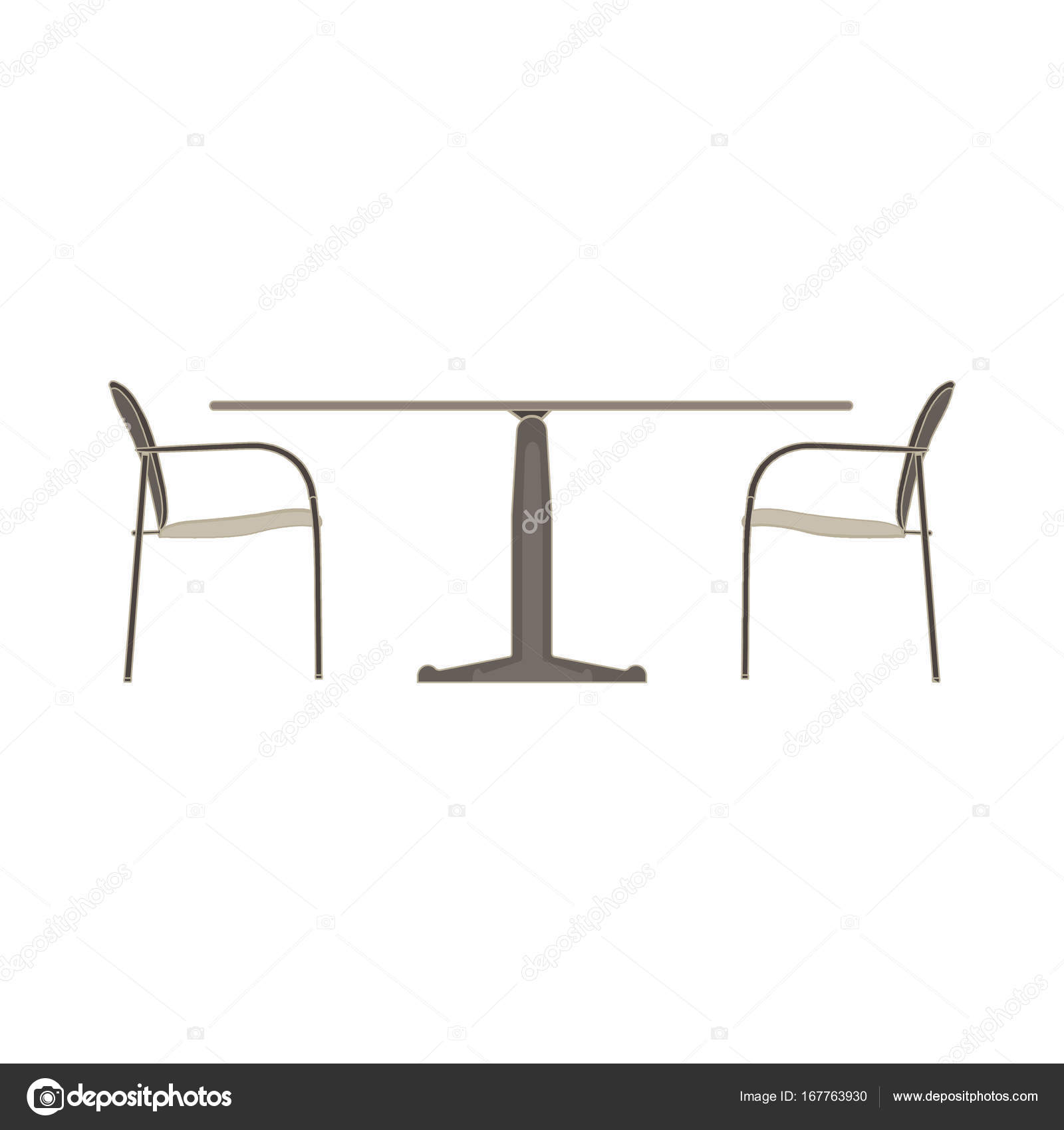 Vector Table Chaise Deux Plat Icne Isol Meubles De Restaurant Image Vectorielle