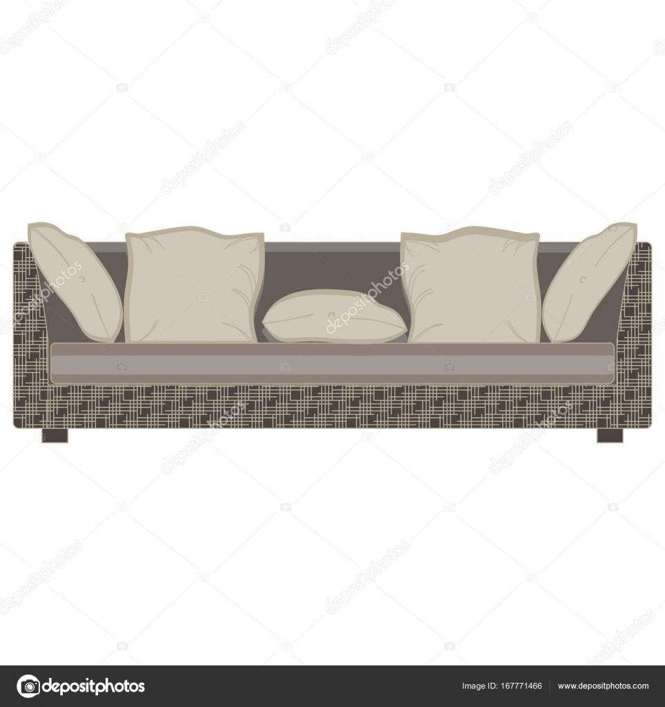 Perfect Vektor Modernes Sofa Flach Icon Isoliert. Möbel Luxus Vorderansicht  Elegant. Farbenfrohe Dekor Komfort, Eleganz, Elegant, Trendy Single Zu  Schmücken.