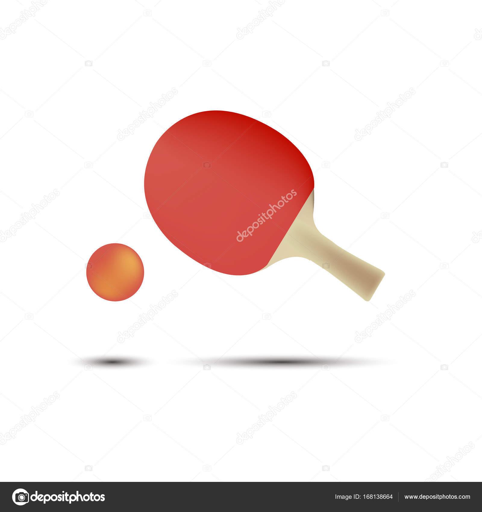 a3ebf0925 Ping pong ténis mesa raquete vector ícone isolado jogo de bola — Vetor de  Stock