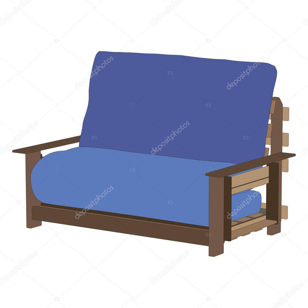 Blaues Sofa Möbel Couch Isolierte Innere Moderne Illustration U2014 Stockvektor