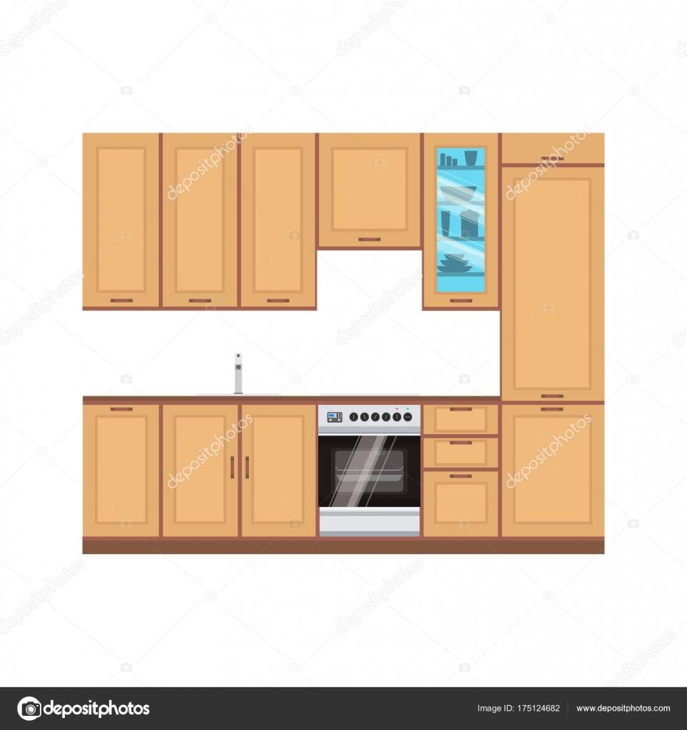 Habitación con cocina diseño interior vector ilustración moderna ...