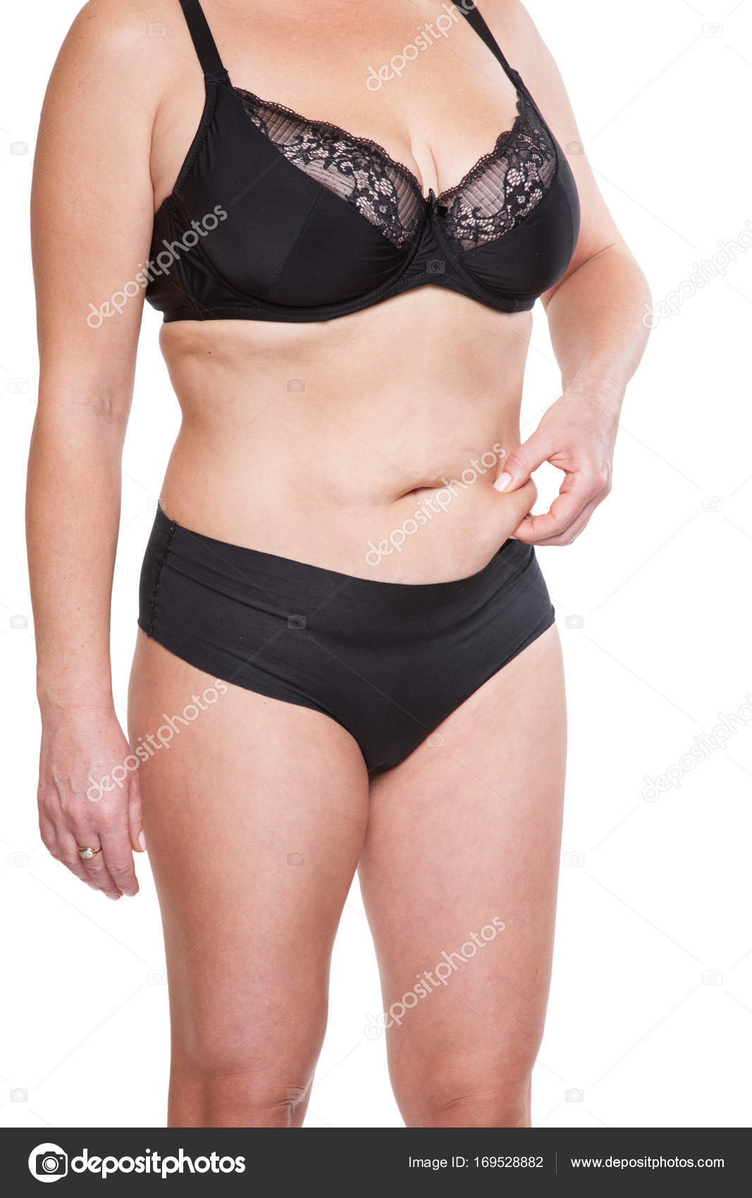 Chubby woman pinching belly– stock image