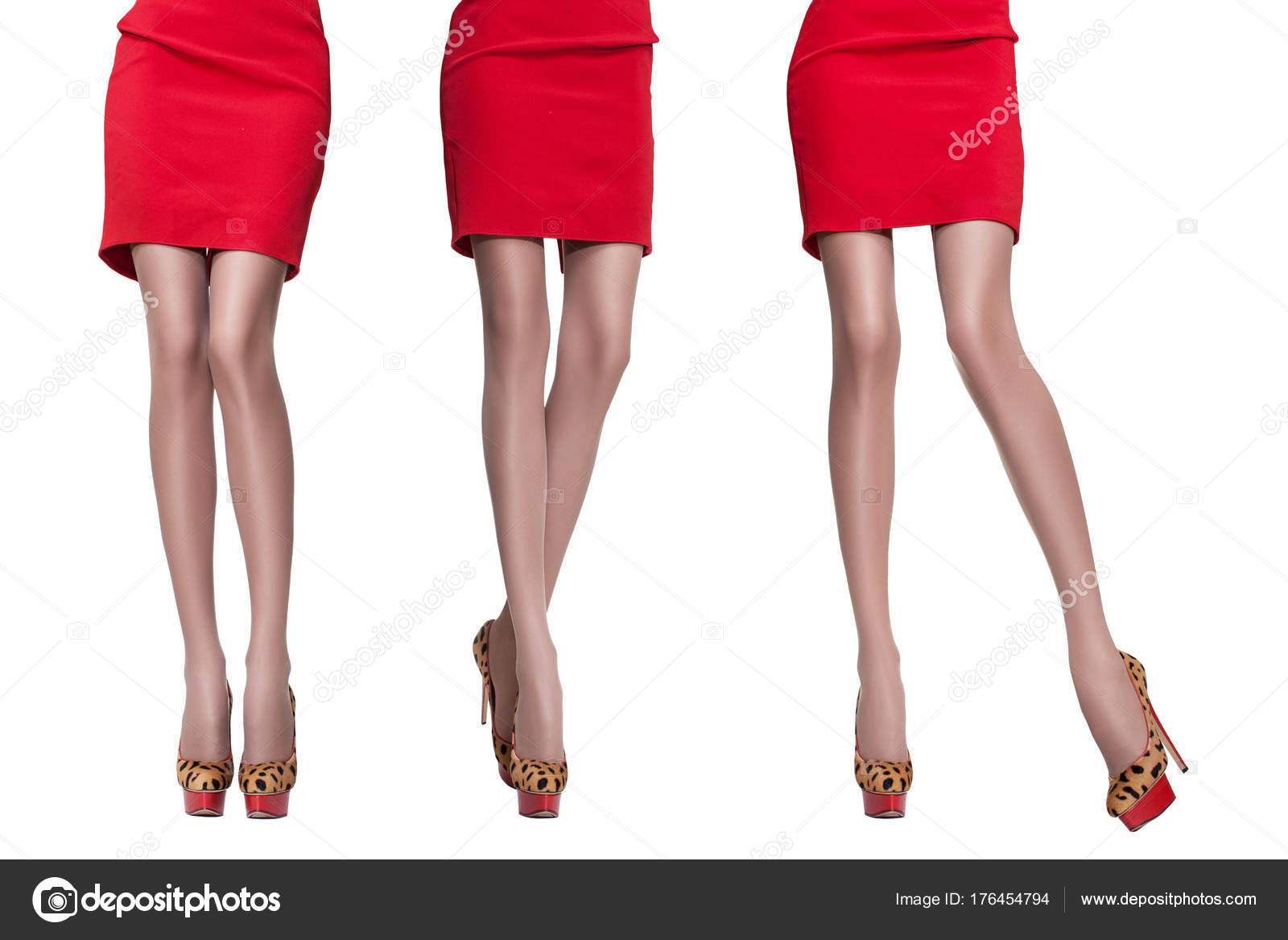 Beautiful Legs Young Sporty Woman Red