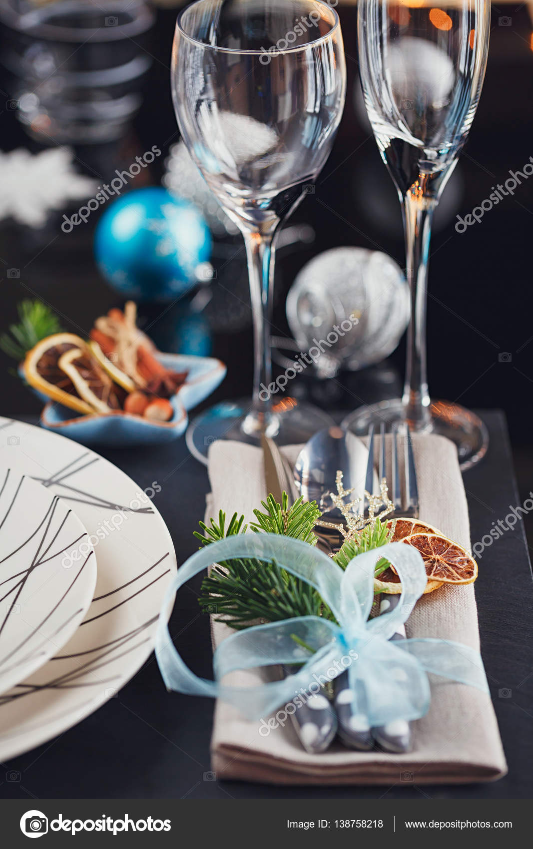 Winter table setting with Christmas decoration u2014 Stock Photo & Winter table setting with Christmas decoration u2014 Stock Photo © svitt ...