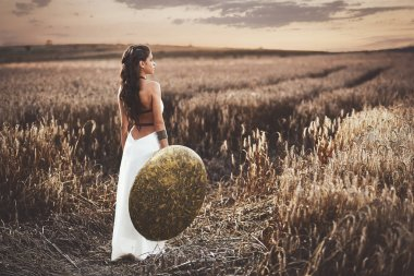 Back view of girl holding shield among grass in field.