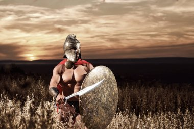 Fearless young Spartan warrior posing in the field