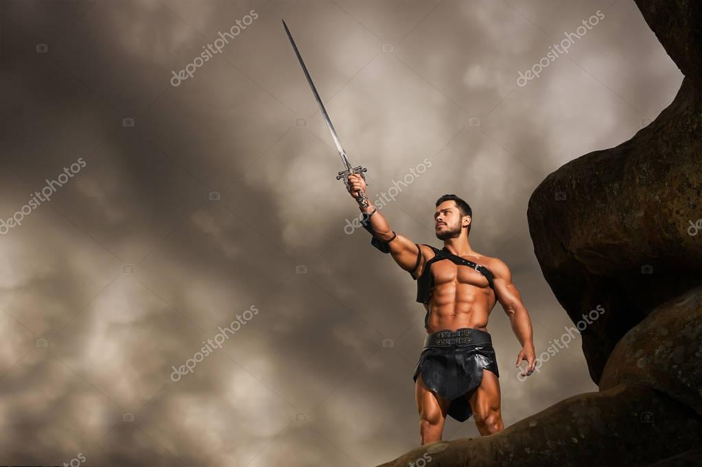 Young warrior on a mountain peak