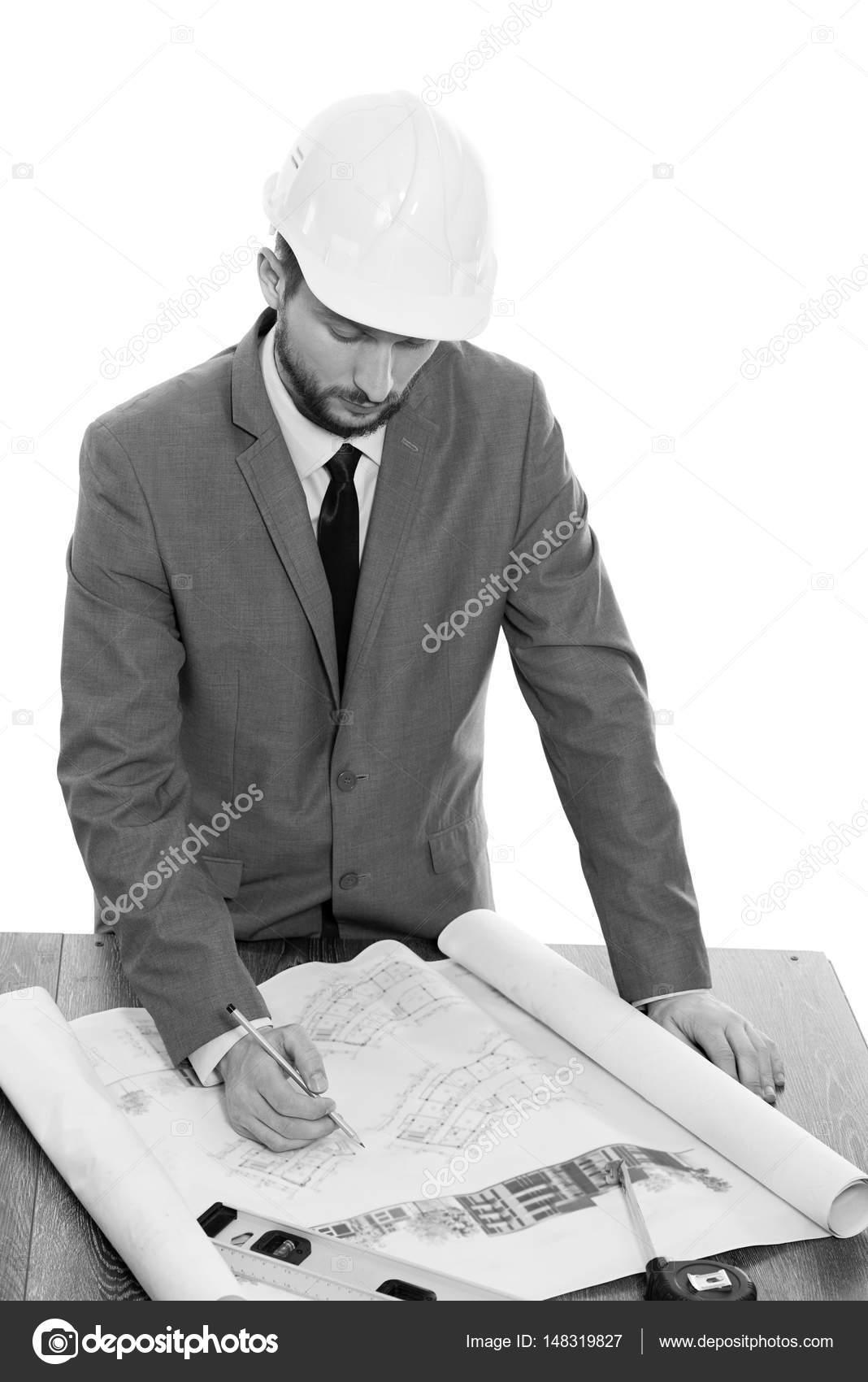 Schone Reife Auftragnehmer Einen Bauplan Zeichnen Stockfoto