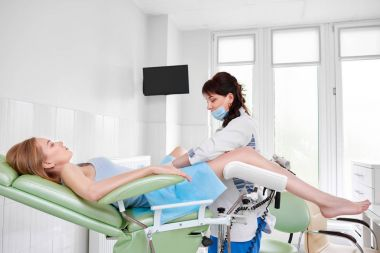 Professional gynecologist examining her patient
