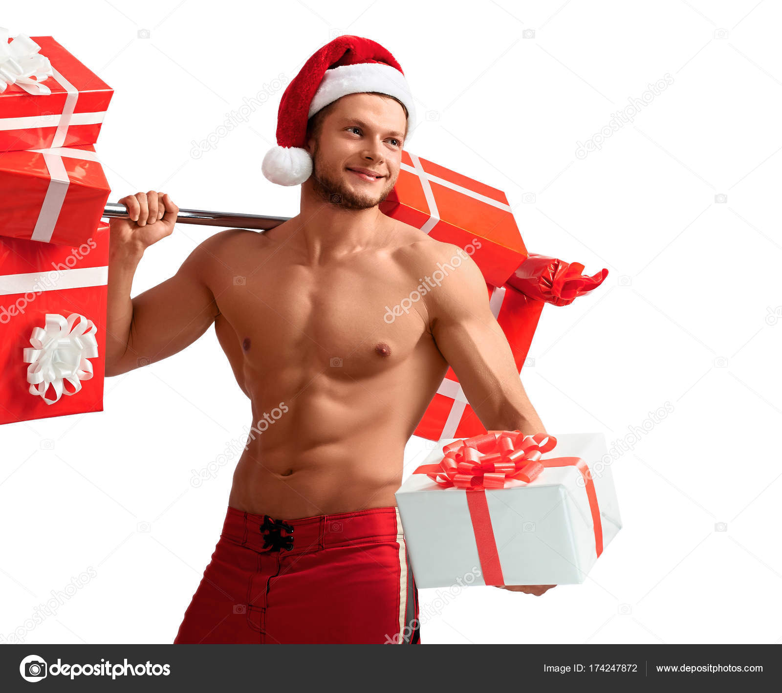 Santa Claus holding Langhantel und Geschenke gerissen — Stockfoto ...