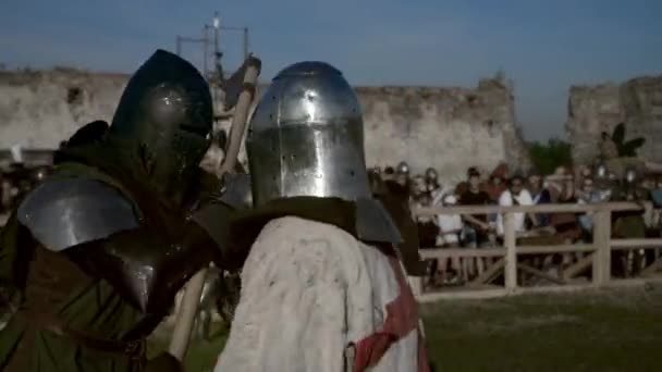 Nadvirna, Ukraine - August 24, 2019: Historical reconstruction of medieval fight outdoors.