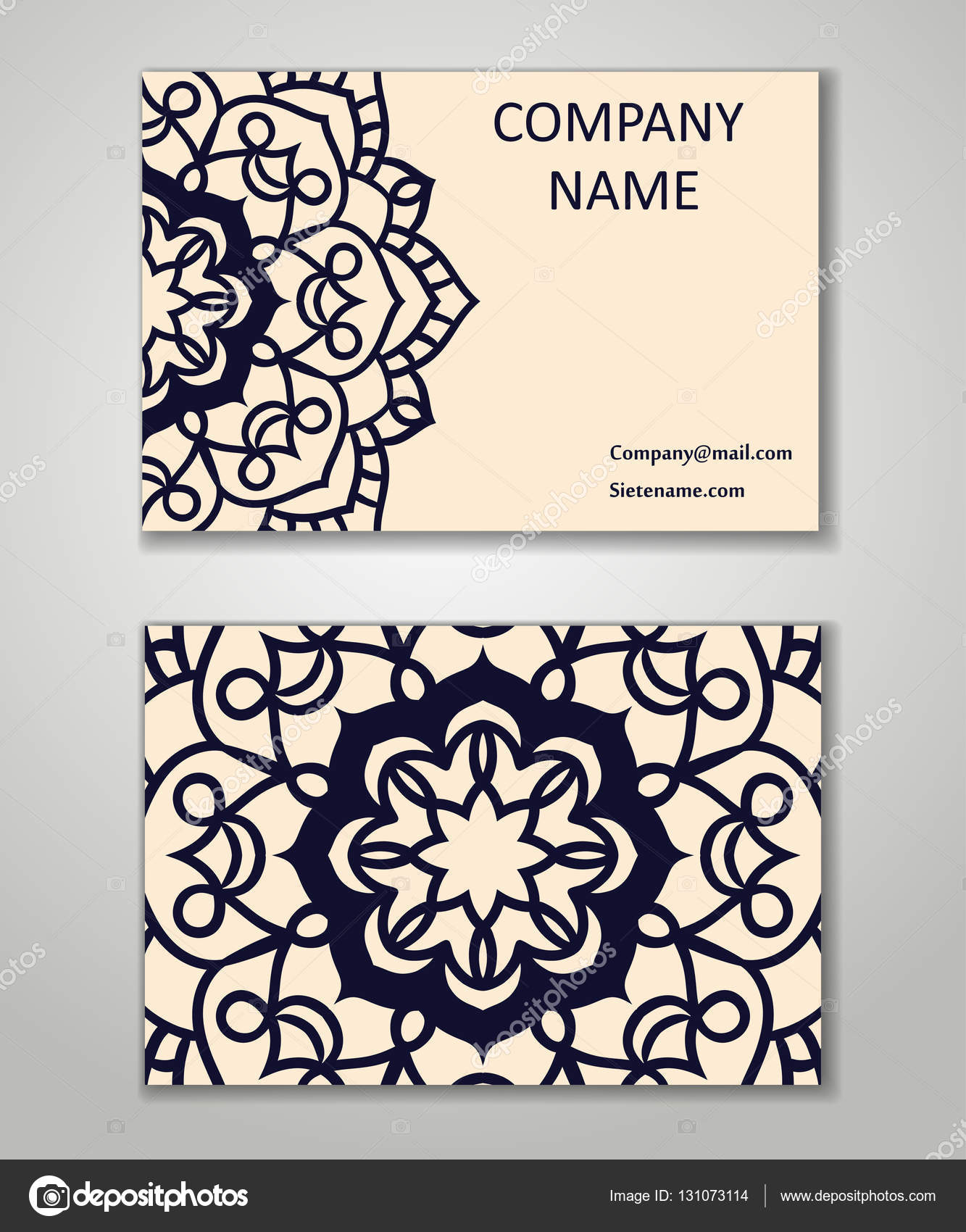 Vector vintage business card set. Beauty designs. Floral mandala ...