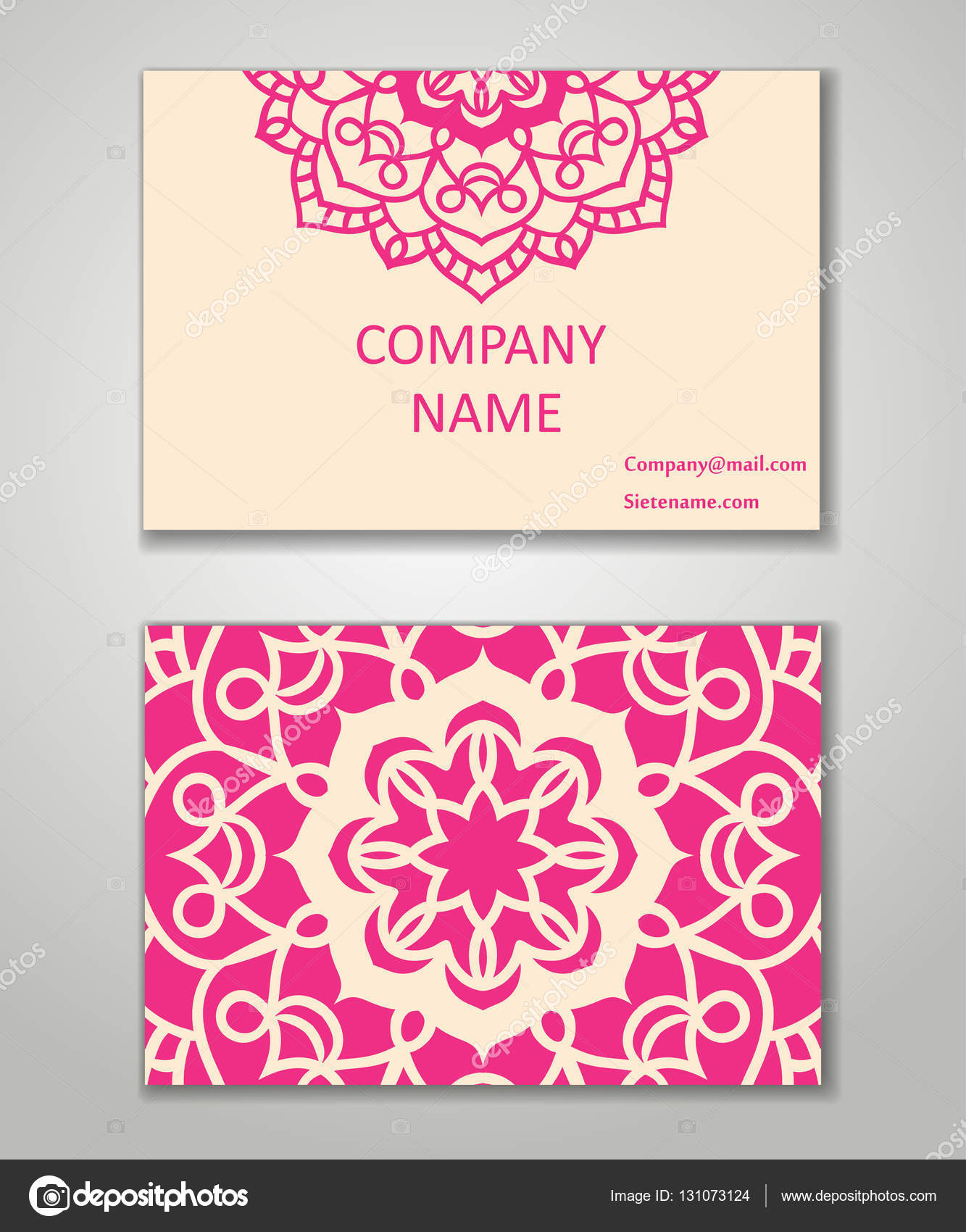 Vector vintage business card set Beauty designs Front page and