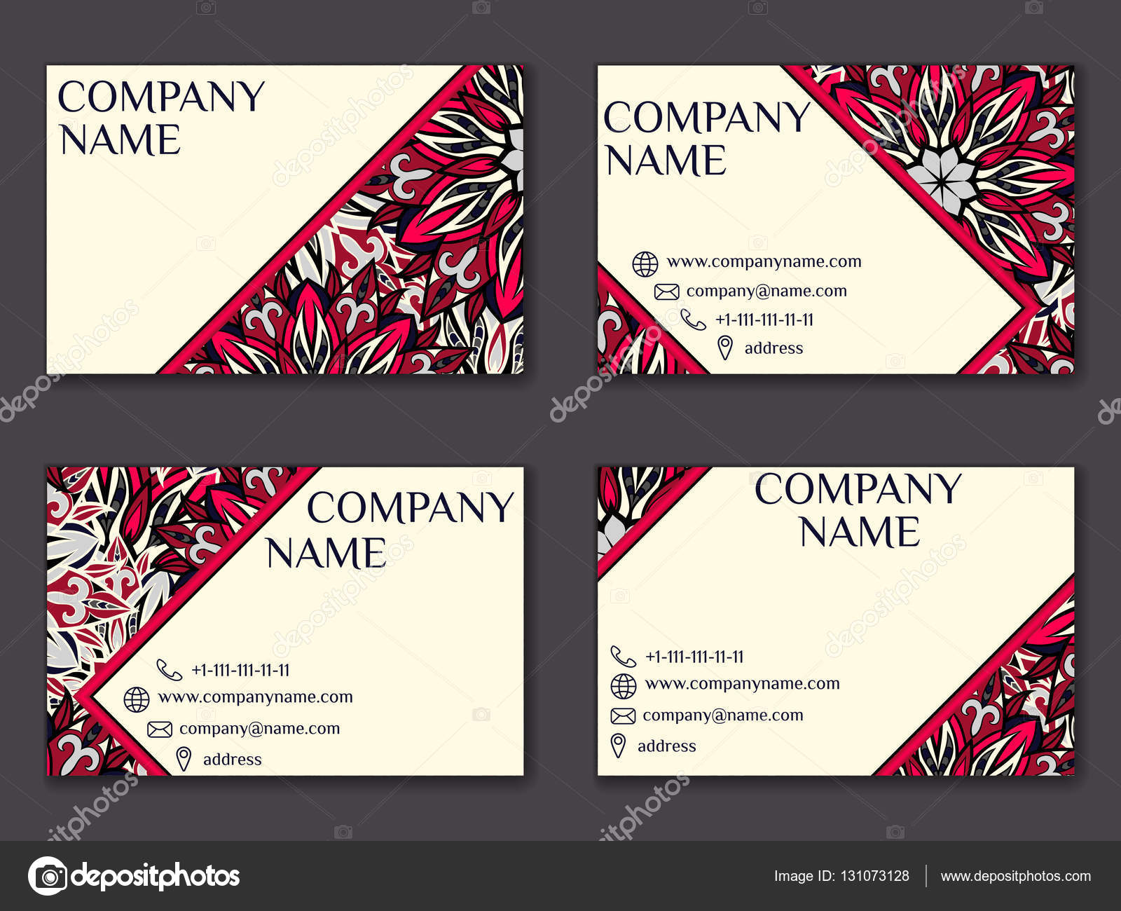 Vector vintage business card set. Beauty designs. Front page and ...