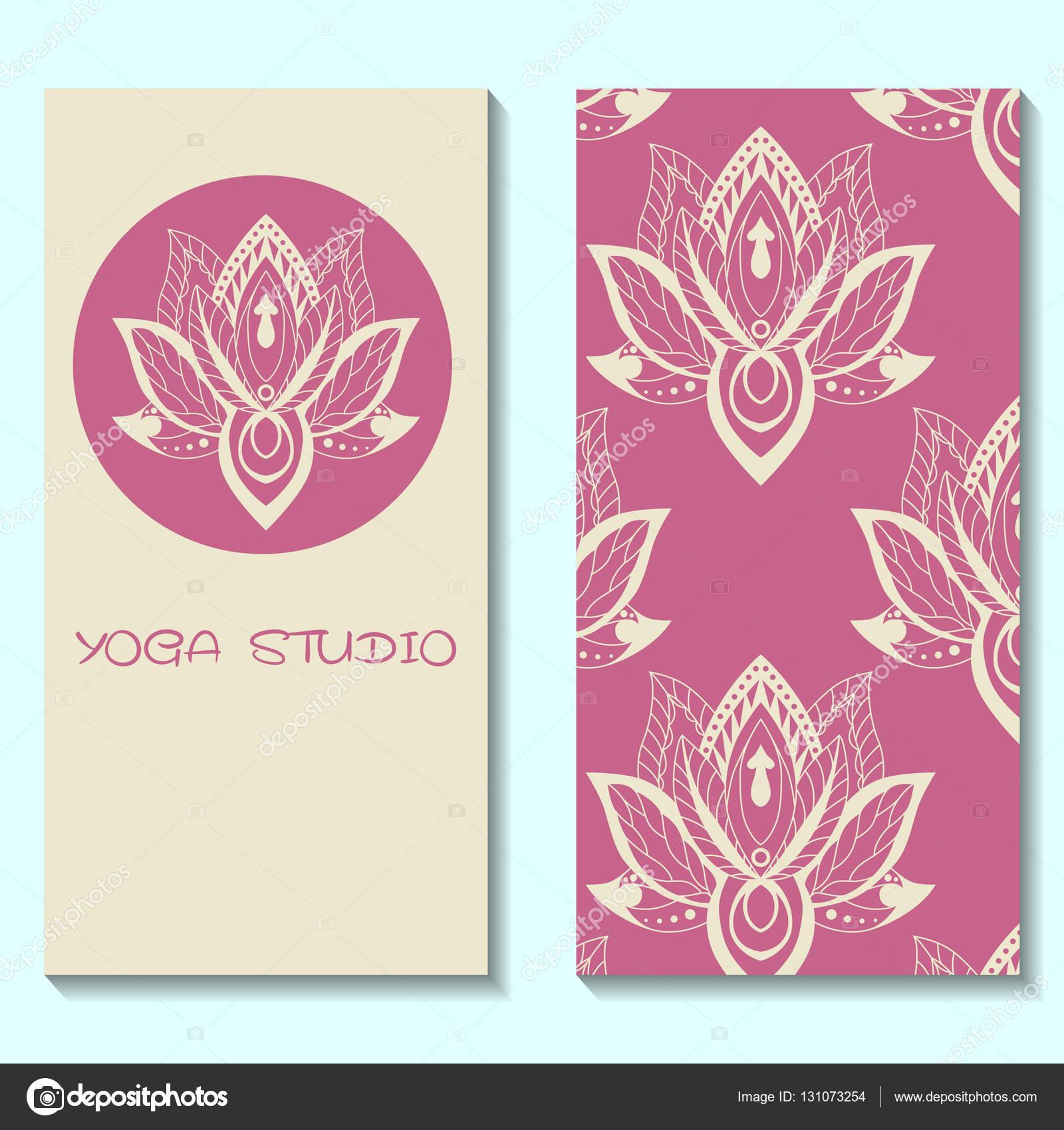 Plantilla de tarjetas para el estudio de yoga con lotos. Yoga ...