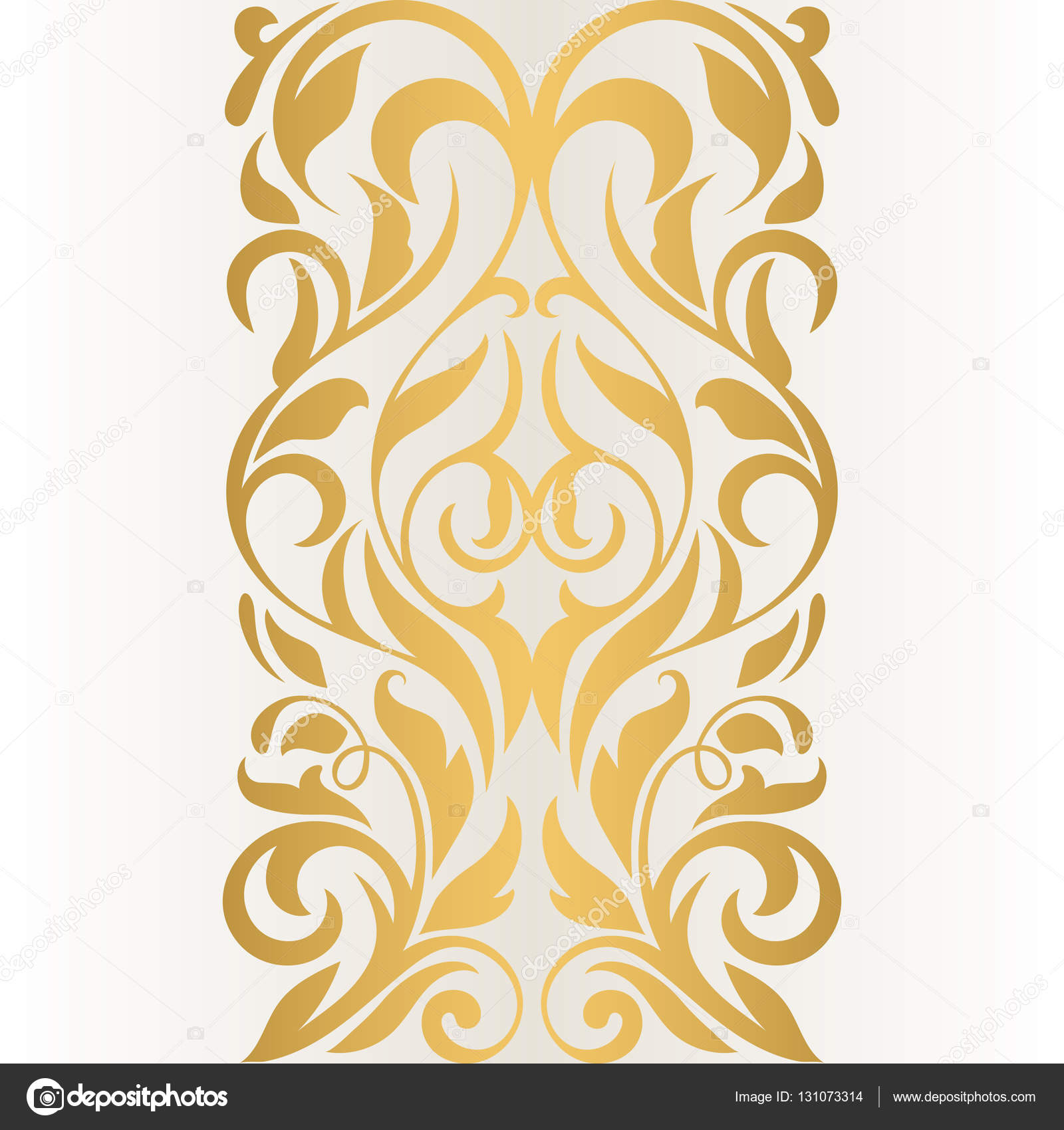 Golden Abstract Border On A Light Background Vintage Pattern