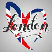 London lettering. Hand written London. UK flag in a heart shape.