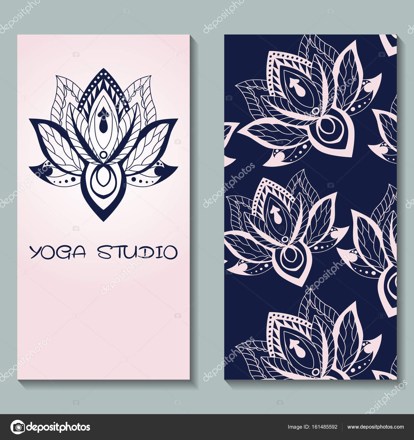 Karten Vorlage für Yoga-Studio mit Lotusblüten. Yoga vertikale vecto ...