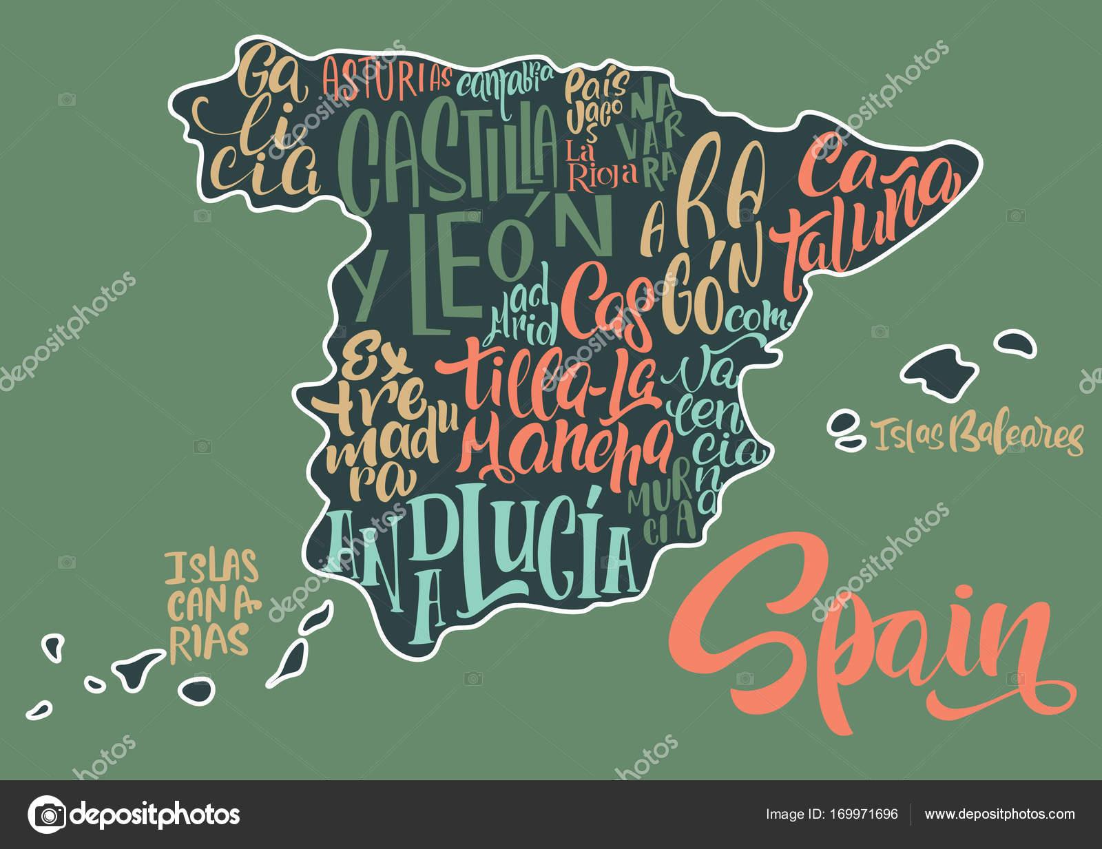 Sagoma Della Mappa Della Spagna Con I Nomi Scritti A Mano Della