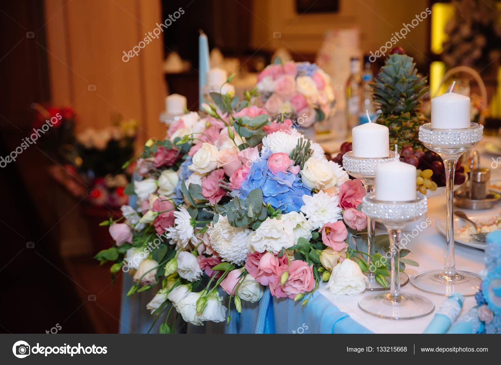 Hochzeitsdekorationen Dekor Auf Dem Tisch Blumen Stockfoto