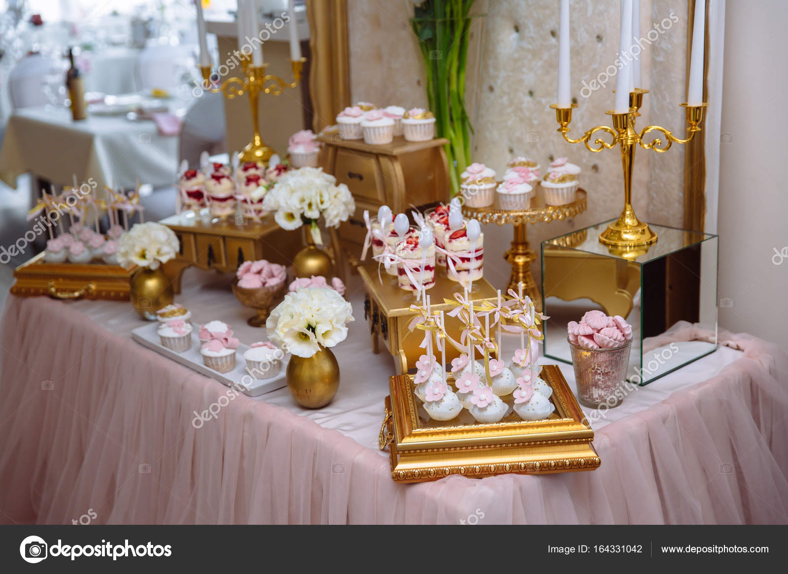 candy bar table with sweets buffet with cupcakes candies dessert rh depositphotos com candy bar table ronde candy bar table mariage