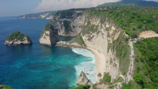 Aerial view beautiful white sand Diamond beach, turquoise ocean, mountains
