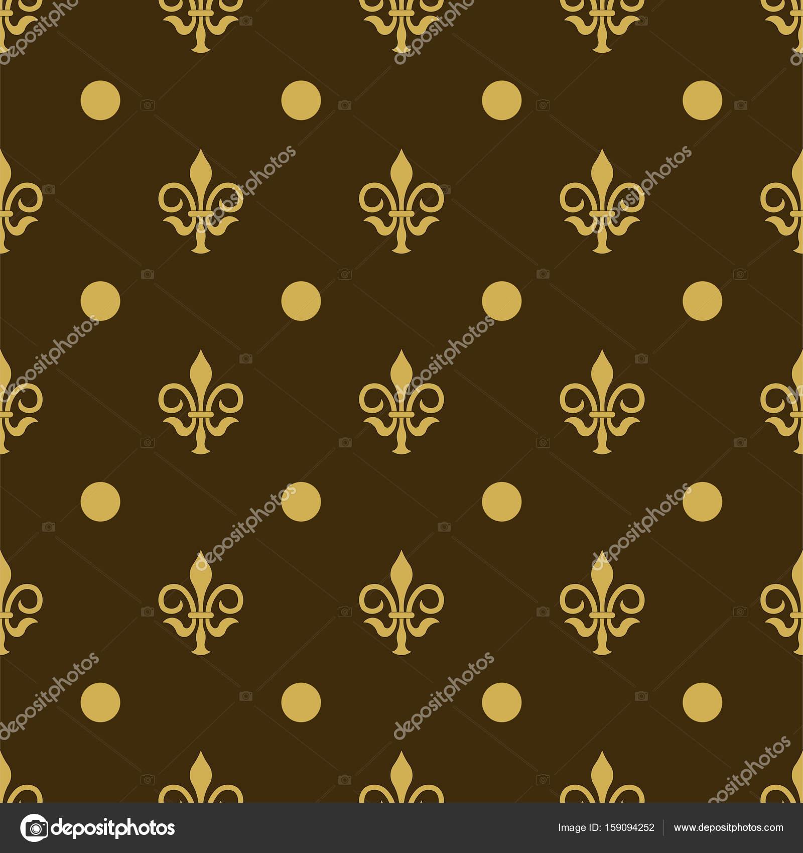 Seamless Texture Fleur De Lis Printing On Fabric Wallpaper Stock