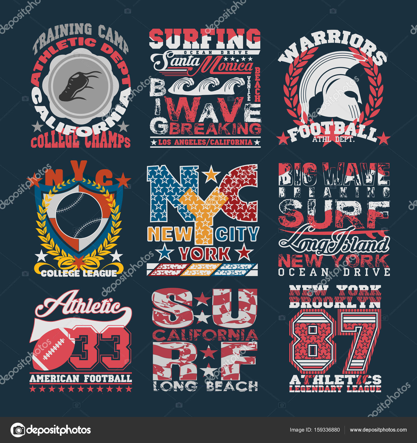 Sport Typography Graphics Emblem Set T Shirt Printing Design
