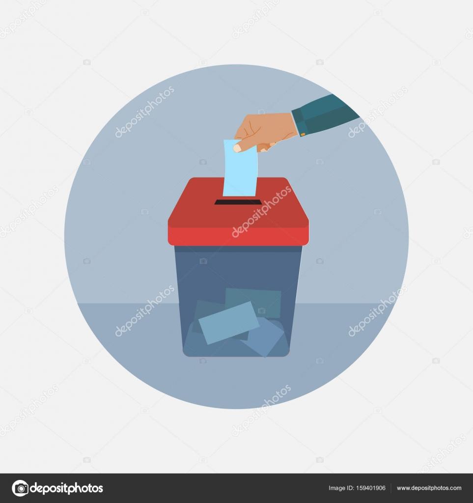 Hand Legt Stimmabgabe Stimmzettel In Die Wahlurne. Abstimmungen Und Wahlen  Konzept. Machen Sie Ein Bild Der Wahl. Abstimmung Gestaltung U2014 Vektor ...