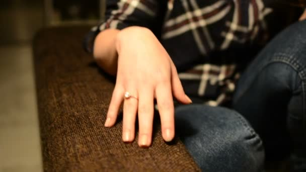 Girl shows an engagement ring