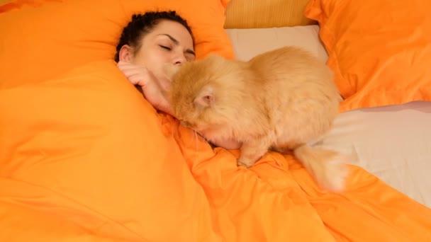 Dívka spí s kočkou v posteli. 4k