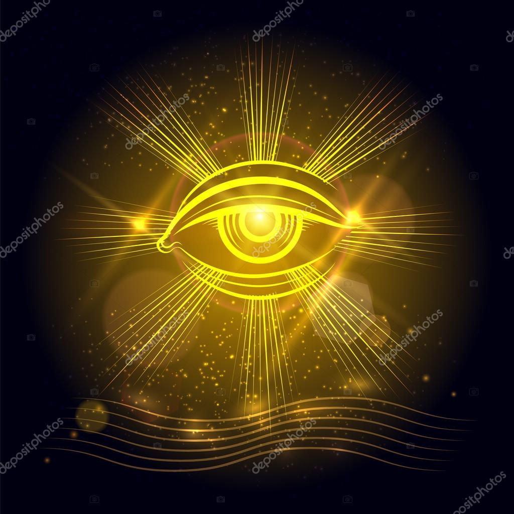Egypt God eye on golden background