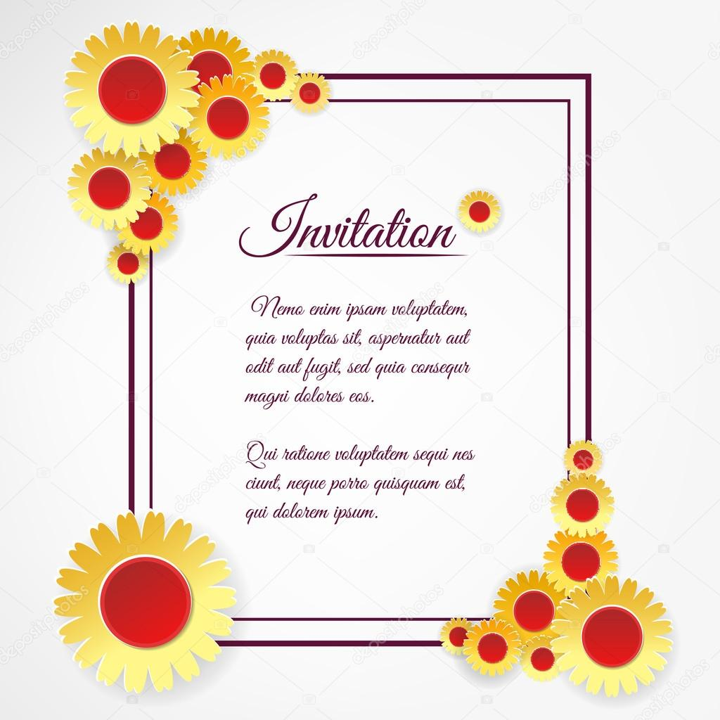 Invitation template with yellow flowers