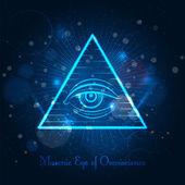 Fotografie Masonic eye on blue shining background