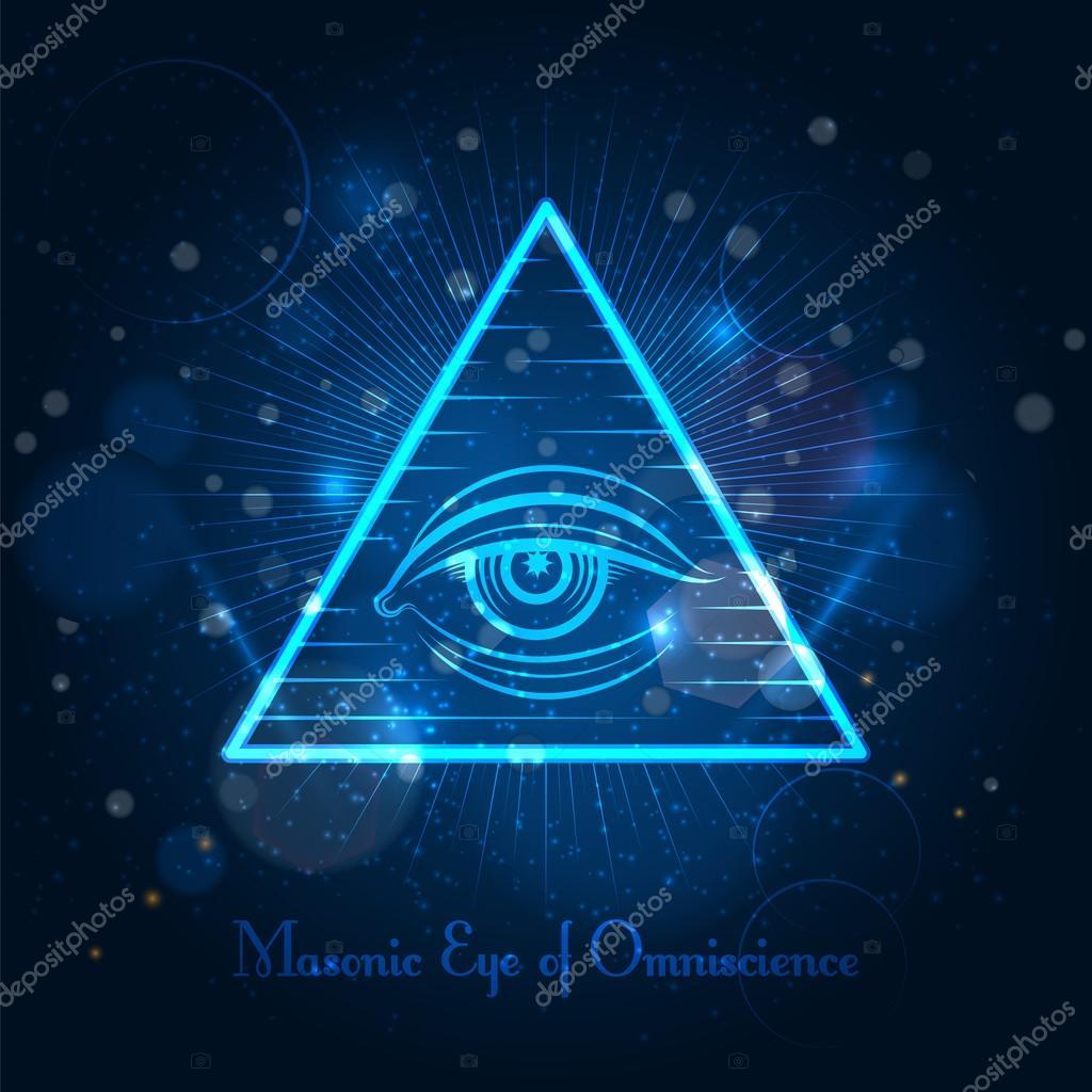 青色に輝く背景フリーメーソンの目 — ストックベクター © vectortatu