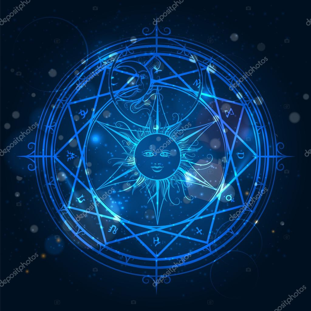 alchemy magic circle on blue background stock vector. Black Bedroom Furniture Sets. Home Design Ideas