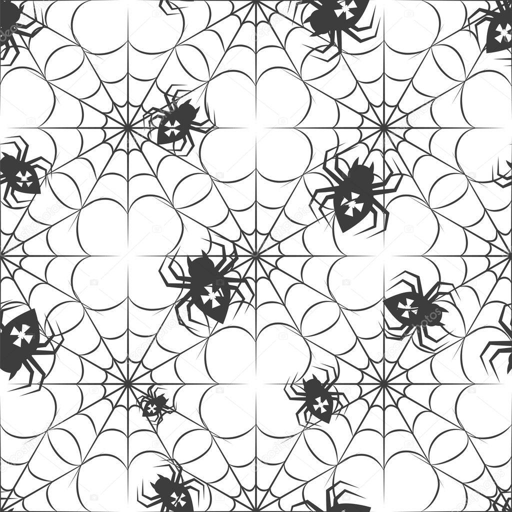 patrón sin costuras Halloween con arañas — Vector de stock ...