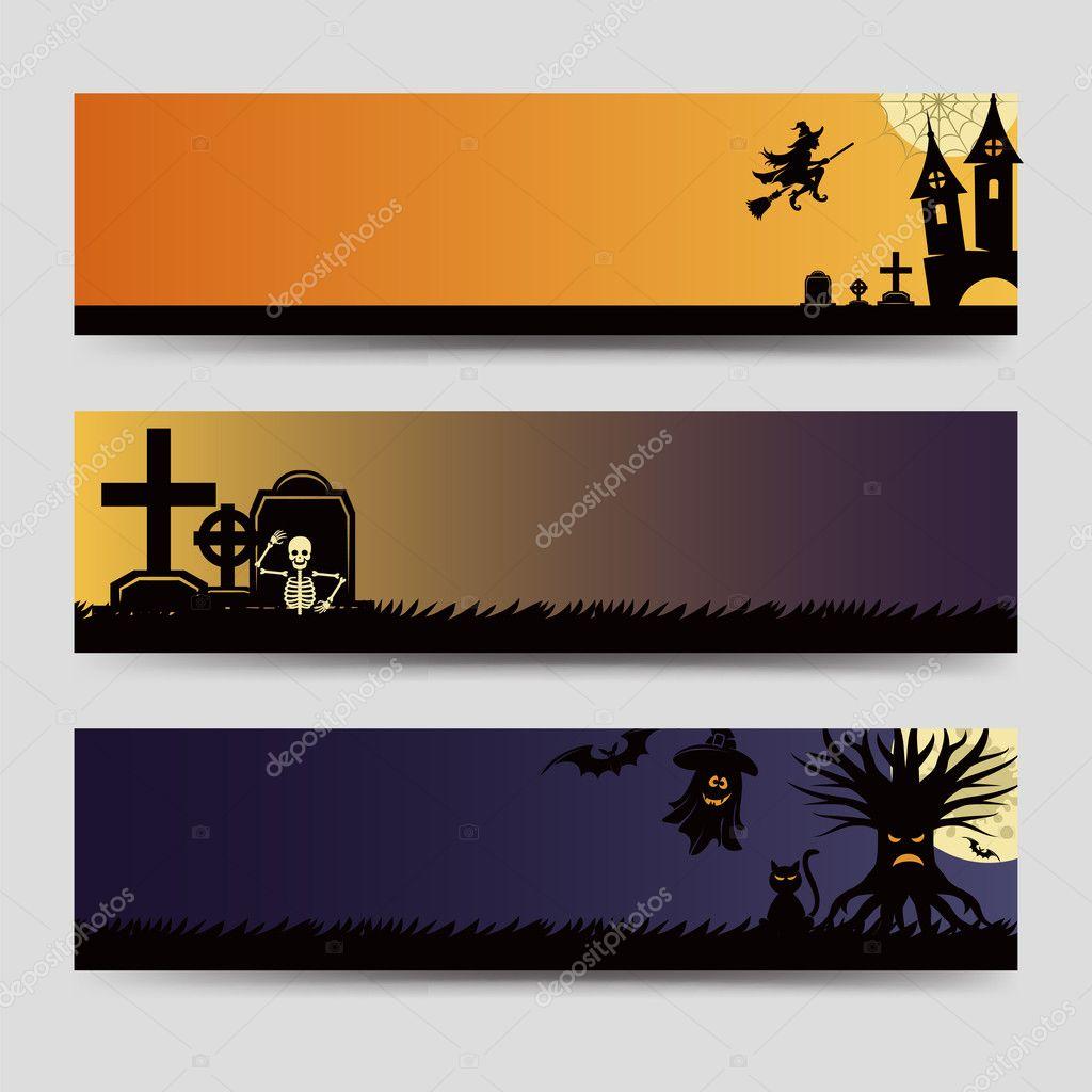 halloween banners templates set stock vector vectortatu 126652982 rh depositphotos com Halloween House Vector Halloween Bat Vector