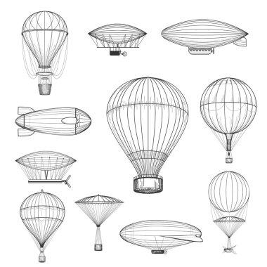 Vintage hot air balloons. Retro hand drawn air balloon set vector illustration clip art vector