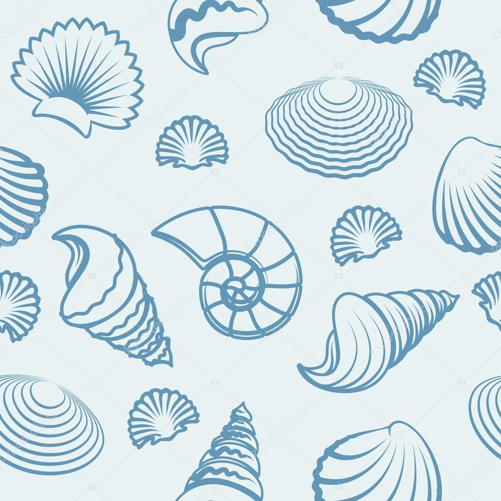Sea shell hand drawn pattern