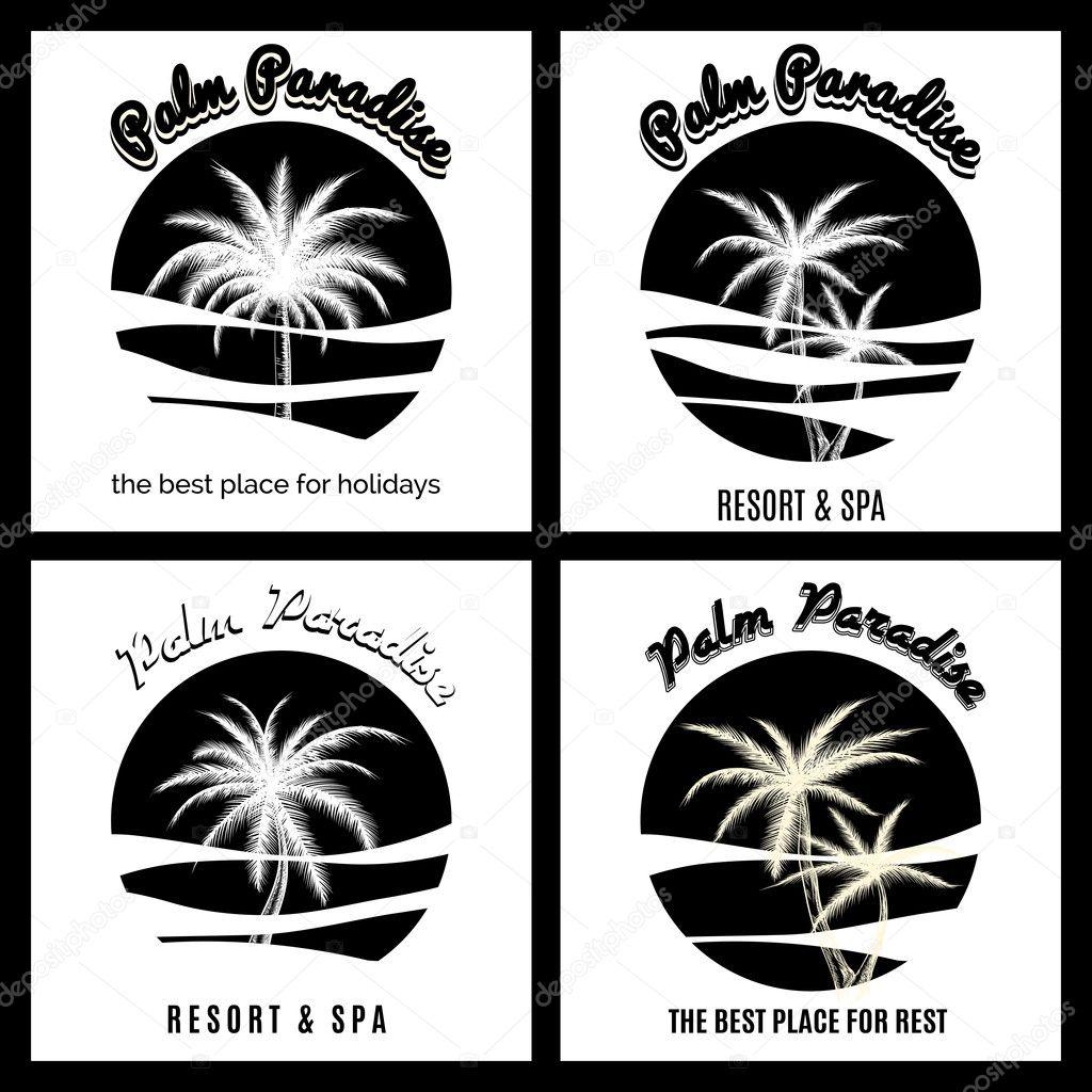 Black and white palm paradise logo