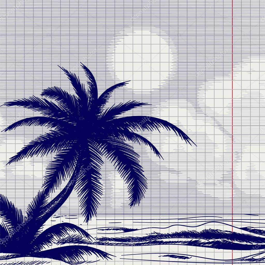 Palm tree and ocean sketch