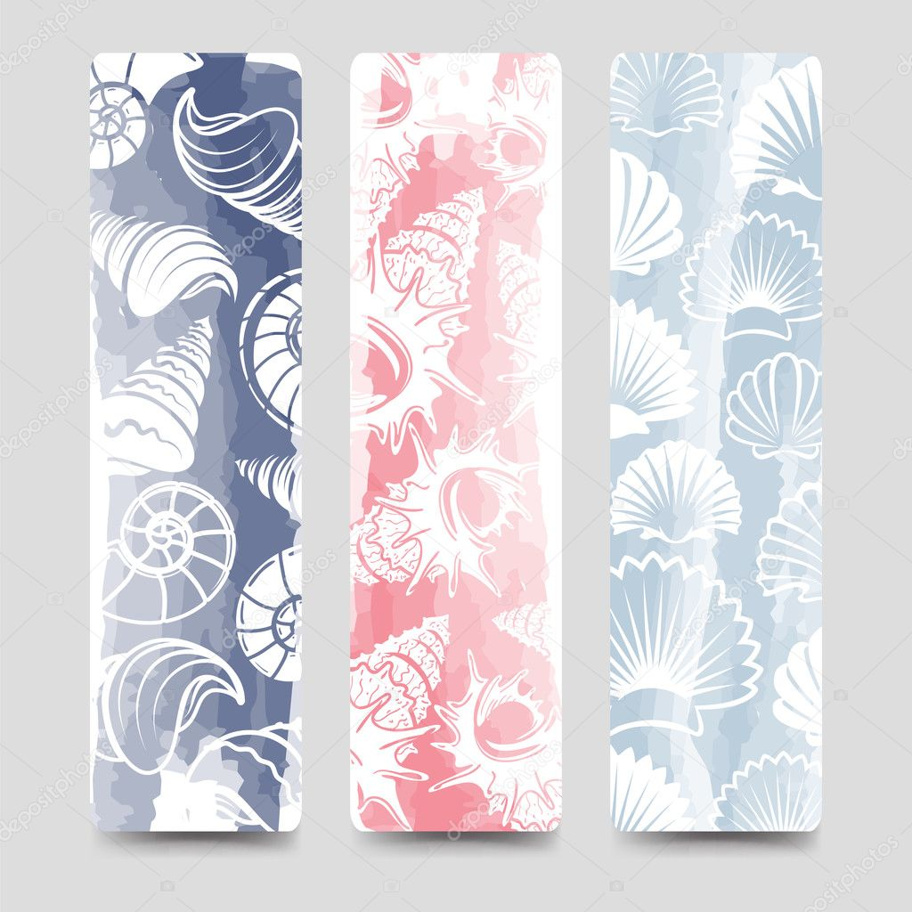 Ocean bookmarks collection with sea shells