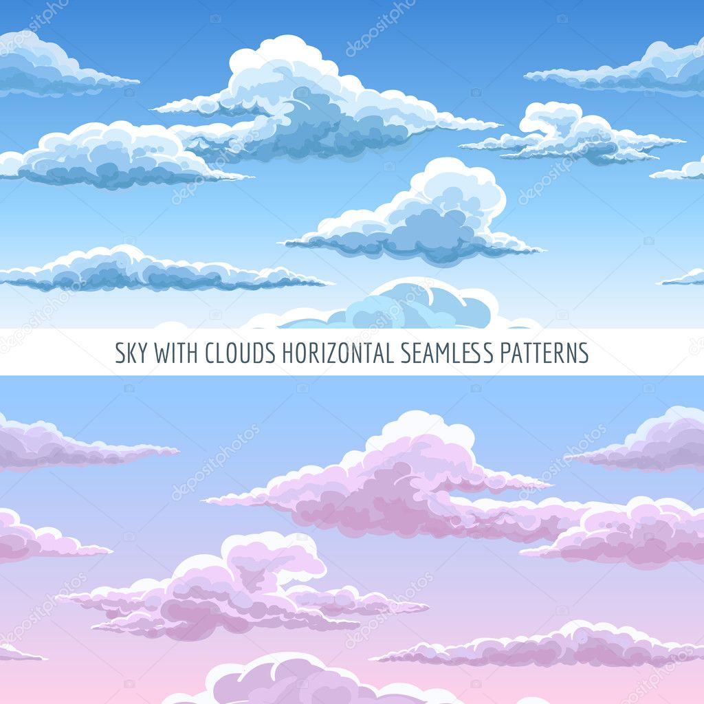 blue sky with clouds seamless pattern