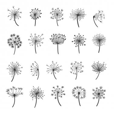 Dandelion silhouette icons
