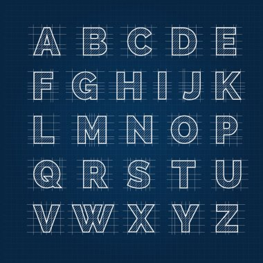 Blueprint drafting alphabet