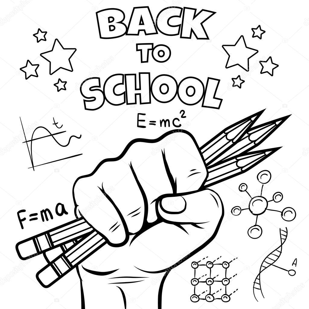 regreso a la escuela para colorear página — Vector de stock ...