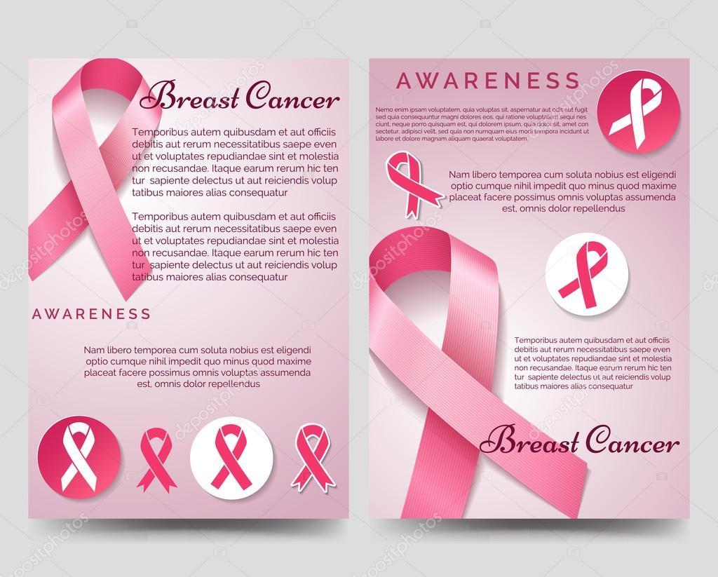 Plantilla de folleto de conciencia de cáncer de mama — Vector de ...