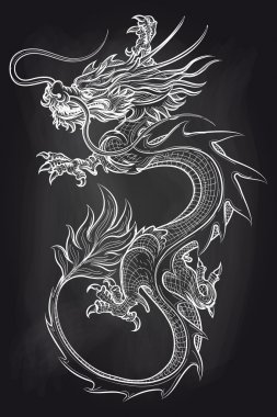 Chinese dragon on chalkboard backdrop